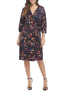 Long Sleeve Wrap Side Cascade Dress