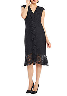 Cascade Ruffle Lace Dress