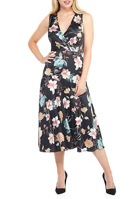 Maggy London Asymmetrical Wrap Flare Dress