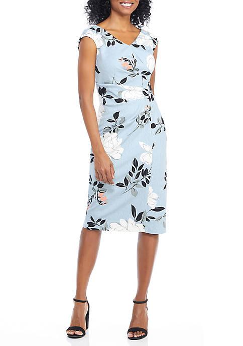 Short Sleeve Faux Wrap Sheath Dress