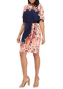 Maggy London Short Sleeve Wrap Sheath Dress