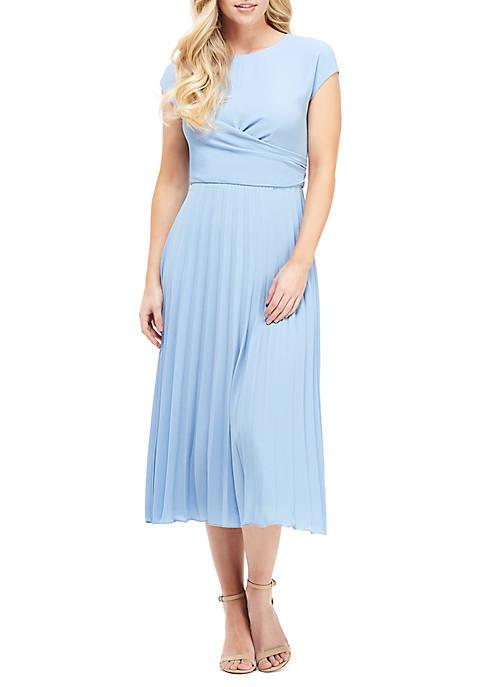 Short Sleeve Faux Wrap Pleated Dress