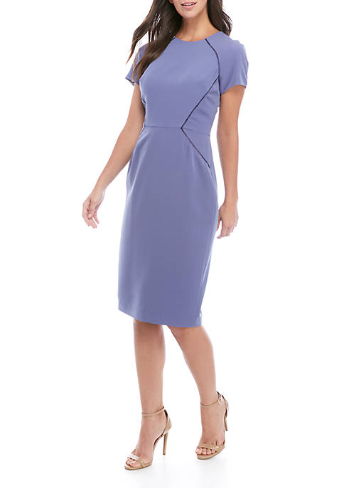 Womens Short Sleeve Midi Sheath Dress