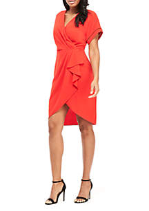 Maggy London Faux Wrap Dress with Kimono Sleeves