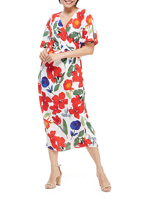 Maggy London Floral Crepe Wrap Dress