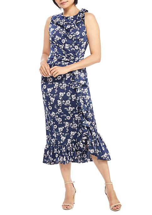 Maggy London Sleeveless Cascade Ruffle Dress