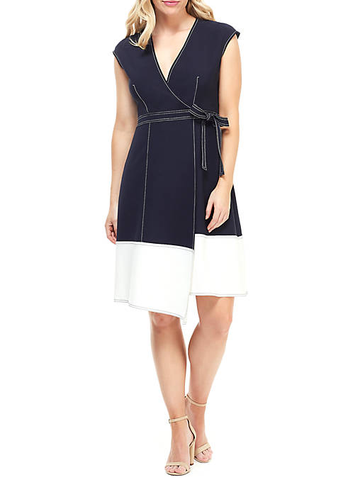 Maggy London Cap Sleeve Crepe Wrap Dress