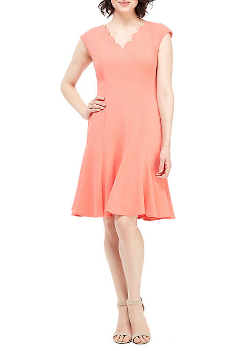 Short Sleeve Scallop Fit and Flare Dress