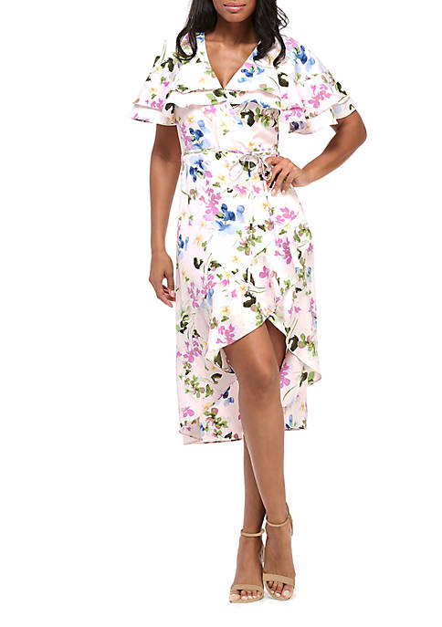 Maggy London Short Sleeve Ruffle Floral Wrap Dress
