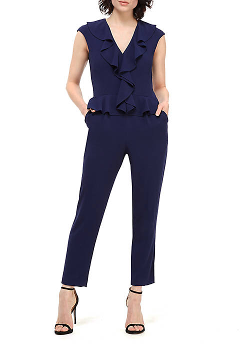 Maggy London Sleeveless Ruffle Peplum Jumpsuit