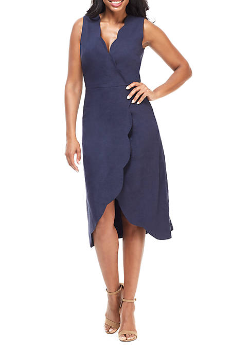 Maggy London Scallop Neck Wrap Dress