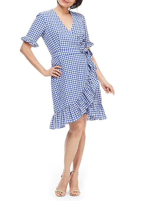 Maggy London Ruffle Gingham Faux Wrap Dress