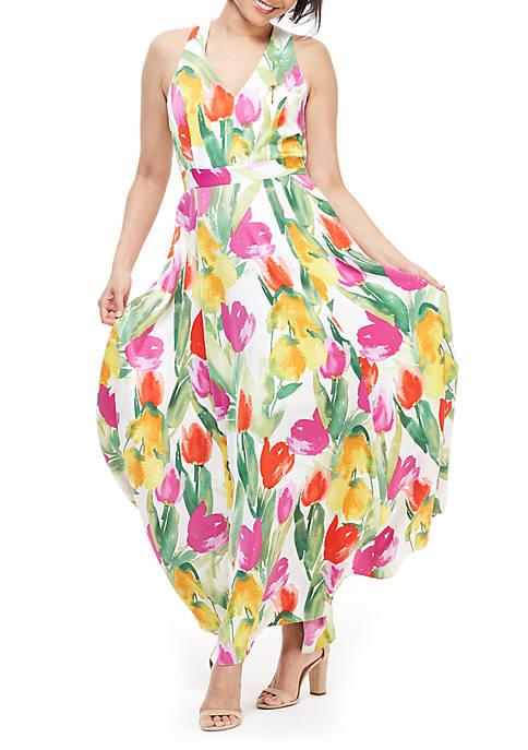 Halter Printed V Neck Maxi Dress