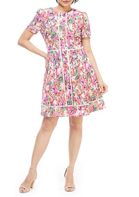 Short Sleeve Printed A Line Dress