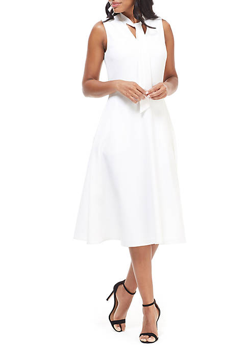 Maggy London Sleeveless Tie Neck Crepe Midi Dress