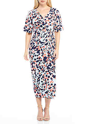 31f087626ea Maggy London Short Sleeve Printed Wrap Dress ...
