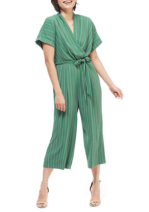 Maggy London Short Sleeve Stripe Jumpsuit