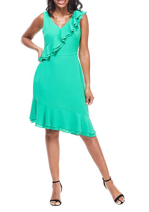 Maggy London V Neck Ruffle Asymmetrical Hem Dress