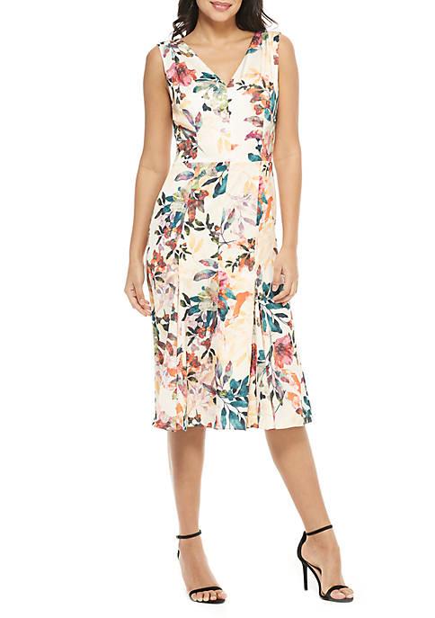 V Neck Printed Floral Dress