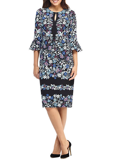 Maggy London Printed Bell Sleeve Sheath Dress
