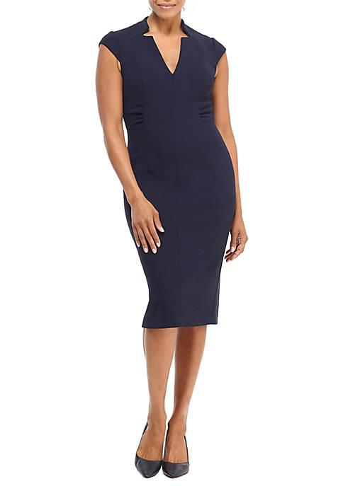 Cap Sleeve V-Neck Sheath Dress