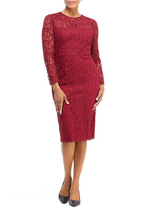 Maggy London Womens Long Sleeve Lace Sheath Dress