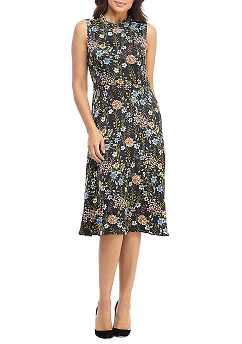Maggy London Womens Sleeveless Mock Neck Print Dress