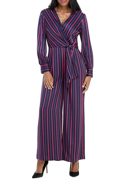 Womens Long Sleeve Striped Jumpsuit