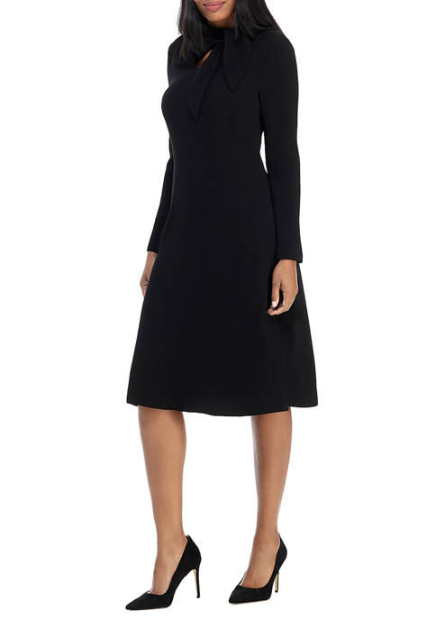 Womens Scarf Tie Neck Fit & Flare Dress