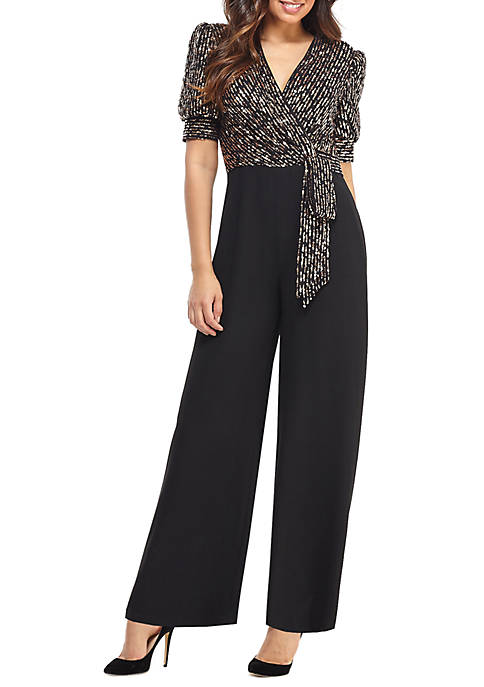 Maggy London Womens Short Sleeve Sequin Top Jumpsuit