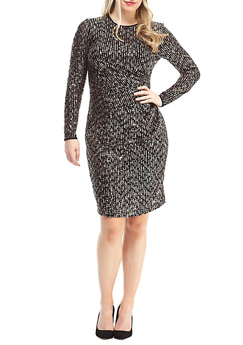 Maggy London Womens Long Sleeve Draped Sequin Dress