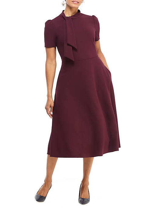 Maggy London Womens Short Sleeve Tie Neck Fit