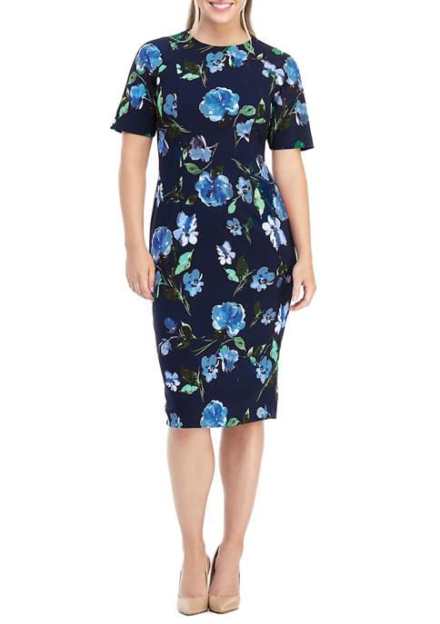 Womens Short Sleeve Floral Midi Dress