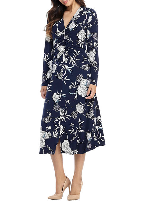 Maggy London Womens Long Sleeve Ruched Front Dress