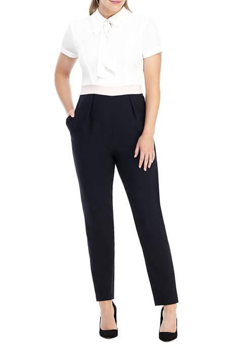 Maggy London Womens Short Sleeve Tie Neck Jumpsuit