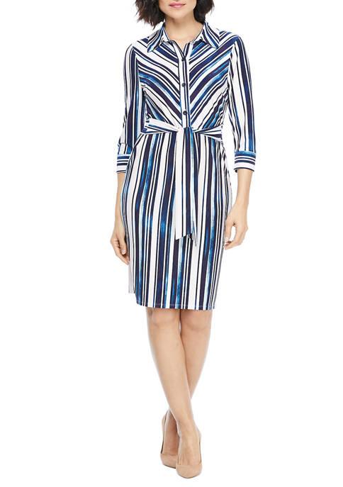 Maggy London Womens Long Sleeve Stripe Jersey Dress