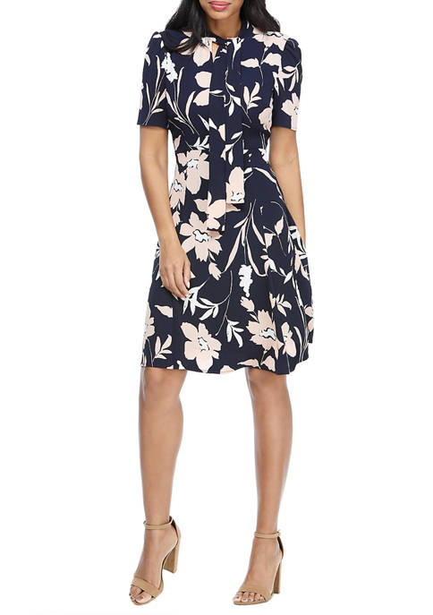 Maggy London Womens Short Sleeve Catalina Crepe Dress