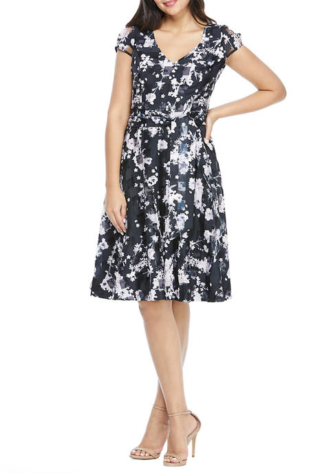 Maggy London Womens Short Sleeve Floral Print Dress