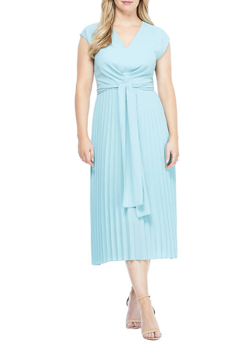 Maggy London Womens Cap Sleeve Pleat Dress