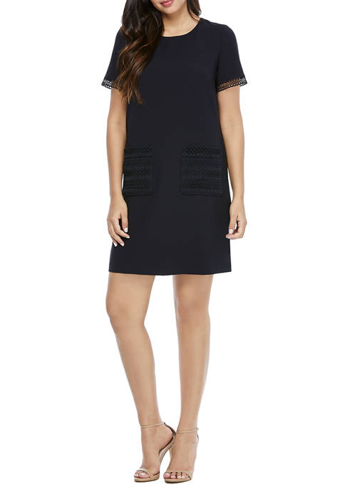 Maggy London Womens Short Sleeve Mystic Crepe Dress