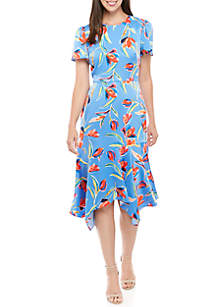 Maggy London Tulip Print Handkerchief Hem Dress