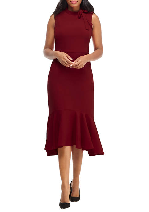 Womens Tie Neck Ruffled Hem Crepe Dress