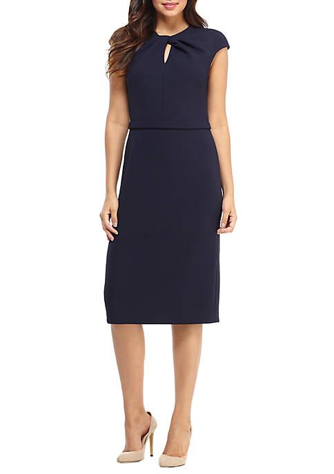Womens Cap Sleeve Twist Neck Midi Dress