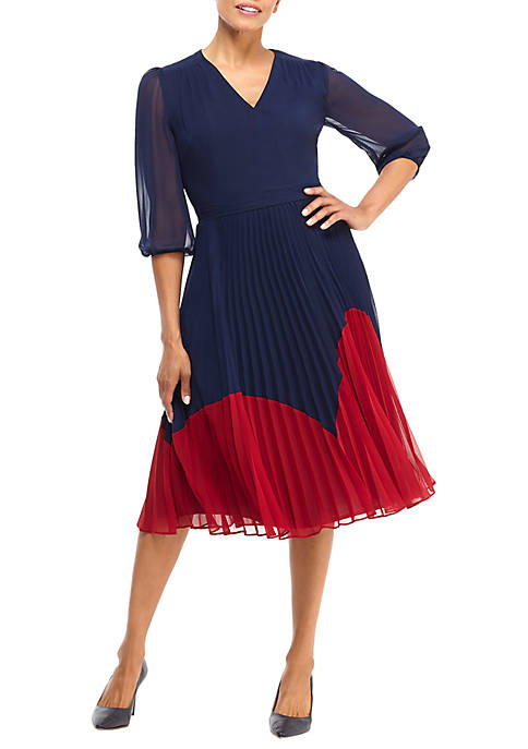 Maggy London Womens 3/4 Sleeve Color Block Pleat