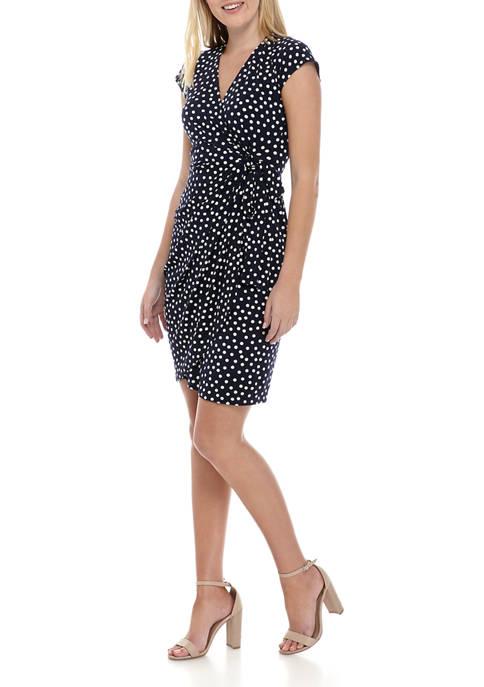 Womens Short Sleeve Dot Print Wrap Dress