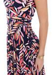 Womens Short Sleeve Leaf Print Wrap Dress