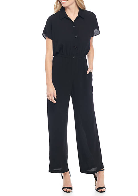 Short Sleeve Solid Gauze Jumpsuit