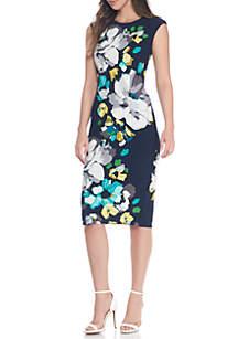 Cap Sleeve Floral Shift Dress