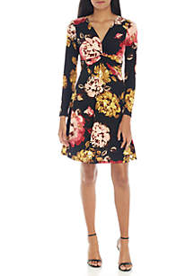 Long Sleeve Floral Faux Wrap Day Dress