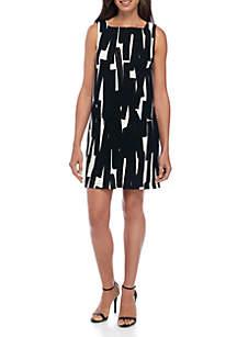 Mini Day Zig Zag Square Neck Shift Dress